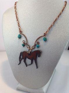 Arizona necklace Iron horse and Turquoise by ScarletMareStudio, $42.00  ETSY