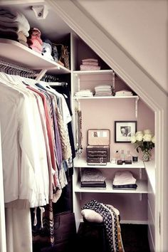 Walk in Wardrobe Design Ideas. I like how all the space is used for storage. Attic Bedroom Small, Attic Bedroom Designs, Attic Rooms, Bedroom Ideas, Attic Design, Teenage Attic Bedroom, Attic Master Bedroom, Walk In Wardrobe Design, Attic Wardrobe