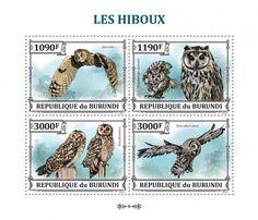 Owl post stamps Burundi.