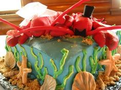 Lobster wedding cake toppers