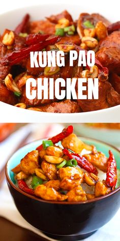 Kung Pao Chicken - yummy Chinese chicken in spicy sauce so easy to make and just like Chinese takeouts Homemade Chinese Food, Easy Chinese Recipes, Easy Chicken Recipes, Asian Recipes, Healthy Recipes, Chinese Desserts, Thai Recipes, Korean Food Recipes, Eating Clean