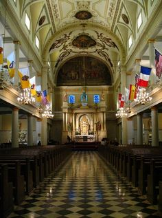 Architecture, especially old churches & cathedrals. Interior of St. Louis Cathedral in New Orleans.