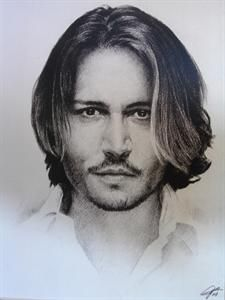 Johnny Depp Sketch Portrait, Charcoal Graphite Pencil Drawing - Double Matt Reproduction