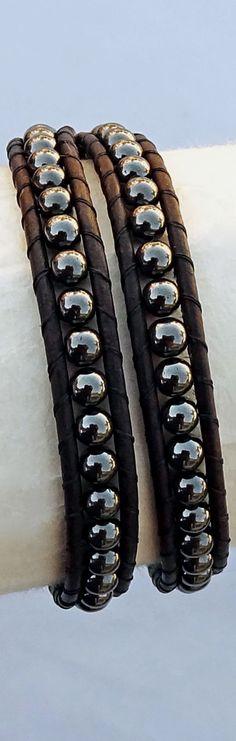 Mens Leather Bracelet, Hematite Beaded Wrap Bracelet | Raddest Mens Fashion…