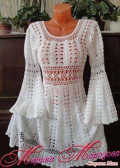 crochelinhasagulhas: Vestido branca com manga longa em crochê