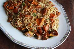 Roast Squash Sesame Noodles: roast squash, sesame, honey, soy and noodles. Big flavour at a bargain price.