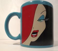 Jessica Rabbit Mug, teal. Side 1