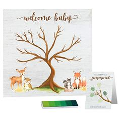 Paper Kit Co. Woodland Creature Baby Shower Fingerprint Tree with Ink Pad - Framable Watercolor Woodland Art Print Baby Shower Fingerprint, Fingerprint Tree, Woodland Theme, Woodland Baby, Kit Co, Thumbprint Tree, Welcome Baby, Woodland Creatures, Fun Crafts