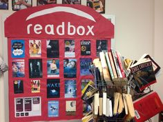 Readbox bulletin board for my reading corner at school- a play off of Redbox. I saw the idea on Pinterest and customized it for my secondary English classroom.