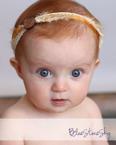 Neutral Bronze Brown Ivory Newborn Headband Halo Tieback, Baby Headband, Ladies Headband via Etsy.