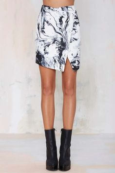 Marble Print Faux Wrap Skirt