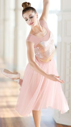 Rose Gold Short Sleeve Sequin Crop Top and Tulle Maxi Skirt - This is a beautiful look for lyrical & contemporary performances.