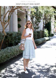 Mint eyelet skirt