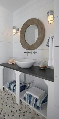 Nautical Inspired Beach House Bathroom Remodel by Brooks Falotico Associates