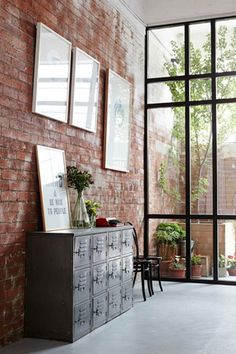 Usually the living room interior of the exposed brick wall is rustic, elegant, and casual. Exposed brick wall will affect the overall look of your house more appreciably. Industrial House, Industrial Interiors, Industrial Style, Industrial Windows, Vintage Industrial, Industrial Design, Industrial Flooring, Industrial Furniture, Industrial Apartment