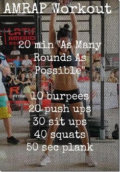 AMRAP Workout (or you could do like a HIIT)  Will definitely be doing this.