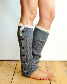 Nellie Knit - Mid Grey - open weave button down leg warmer - legwarmers - button leg warmers - boot socks - boot warmers Grace and Lace on Etsy, Lace Boot Socks, Boot Cuffs, Knit Socks, Grace And Lace, Knit Leg Warmers, Boot Toppers, Lana, Fashion Accessories, My Style