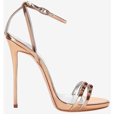 Giuseppe Zanotti Metallic Leather Double Strap Stiletto Sandal (2,785 PEN) ❤ liked on Polyvore featuring shoes, sandals, heels, gold, gold shoes, heeled sandals, gold high heel sandals, rose gold sandals and high heel platform sandals #platformhighheelssandals #sandalsheelsoutfit #giuseppezanottiheelsstilettos