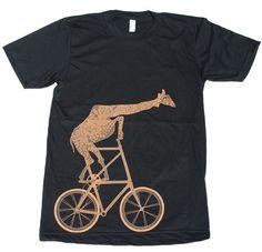 Mens GIRAFFE BICYCLE american apparel tee t shirt XS S M L X L and X X L (Black) on Etsy, $21.00