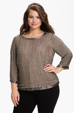 Adrianna Papell Beaded Back Scoop Neck Top (Plus) | Nordstrom