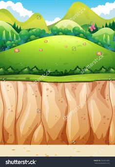 Nature scene of cliff and field illustration