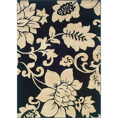 Black / Ivory Floral Design Indoor Area Rug (5' x 7'3)