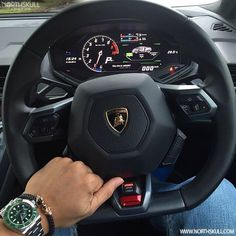 Fan Instagram Pic ! | While behind the wheel of a Lamborghini Huracan @Hafizpd posted a cool photo of his green dial Rolex Submariner watch nicely paired with our premium Black Nappa Leather & 18kt. Gold Twin Skull Bracelet. Nice combo ! | Available now at Northskull.com | For a chance to get featured post a cool photo of your Northskull jewelry with the tag #Northskullfanpic on Instagram