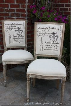 French-Style Chairs For Less–Great Find! French Furniture, Shabby Chic Furniture, Vintage Furniture, Home Furniture, Old Chairs, Vintage Chairs, Dining Chairs, Dining Room, French Decor