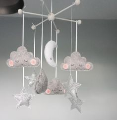 Grey Moon, Cloud and Star Mobile – Velveteen Babies Clouds Nursery, Moon Nursery, Star Nursery, Girl Nursery, Galaxy Nursery, Star Mobile, Cloud Mobile, Baby Mädchen Mobile, Toddler And Baby Room