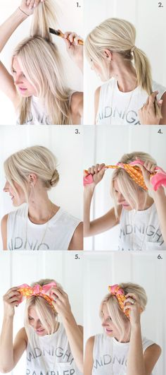 So pretty for summer! Easy knotted scarf chignon