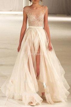 Amazing Sleeveless Tulle Lace Long White Prom Dress
