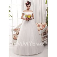 $127.55 Elegant Off the Shoulder Crystal Embroidery Women's Lace Up Floor Length Wedding Dress