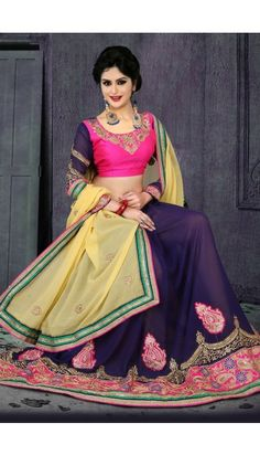 35b2d7a3d258a Light Yellow And Blue Georgette Saree With Blouse - DMV11171 Bollywood  Sarees Online