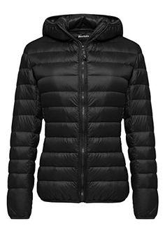 Wantdo Women's Hooded Packable Ultra Light Weight Down Coat Short Outwear(Black,US X-Large)