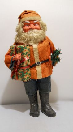 Felt coat, hat and pants. Opens at the waist to reveal the cardboard cylinder candy container. Antique Christmas, Christmas Past, Vintage Christmas Ornaments, Father Christmas, Christmas Items, Country Christmas, Handmade Christmas, Xmas, Saint Nick