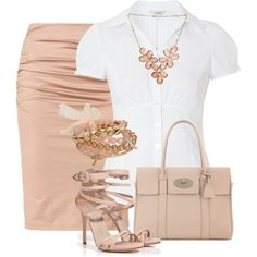 """Blush pencil skirt and white blouse"" by missyalexandra on Polyvore"