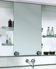 mirror/deep medicine cabinet with sliding mirror.  utilize shelf basement space...