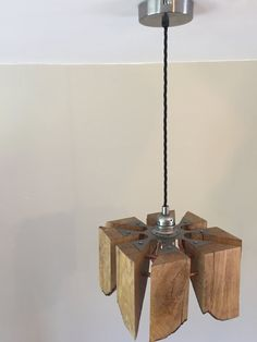 FireLight: Piece of Eight. Hand Crafted Oak Steel and copper Edison pendant lamp with vintage fabric cable. From Made by Greig. Copper Pendant Lights, Pendant Lamp, Pendant Light Fitting, Pieces Of Eight, Wooden Lamp, Light Fittings, Hanger, Bulb, Ceiling Lights