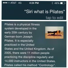 """Straight From The Horses Mouth... SIRI my #iphone  @PilatesDwell_Canton • """"Contrology <PILATES> is complete coordination of body, mind, and spirit. Through Contrology you first purposefully acquire complete control of your own body and then through proper repetition of its exercises you gradually and progressively acquire that natural rhythm and coordination associated with all your subconscious activities. """" :: #sosaysJosephPilates • #pilates #pilatesstudio #pilatesinstructor #contrology Pilates Instructor, Pilates Studio, Joseph Pilates, Siri, Physical Fitness, Exercises, Mindfulness, Horses, Activities"""