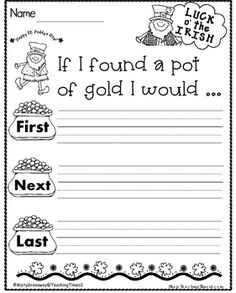Patrick's Day Writing- If I Found a Pot of Gold I Would. Patrick's Day Writing- If I Found a Pot of Gold I Would. 1st Grade Writing, Kindergarten Writing, Teaching Writing, Kindergarten Classroom, Kindergarten Activities, Writing Activities, Writing Prompts, Literacy, Preschool