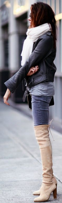 Erica Hoida + versatility + thigh high boots + pale blush coloured boots + denim jeans + cropped leather jacket + Black + tinted boots Jacket: Linea Pelle, Shirt: Tibi, Jeans: Aninie Bing, Shoes: Stuart Weitzman, Bag: Chloe, Scarf: White + Warren.