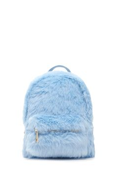 A structured mini backpack featuring allover faux fur, a high-polish zip top, a front zip pocket, a top handle, and adjustable fabric buckle straps.