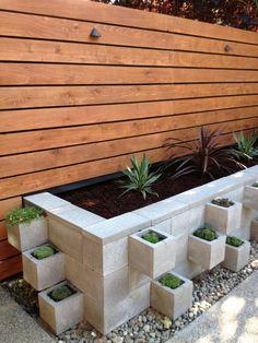 Modern cinder block planter.