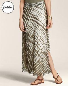 chico's skirts on sale | Petite Tie-Dye Greta Hi-Slit Skirt