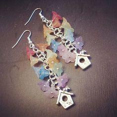 Rainbow birdhouse earrings £7.00