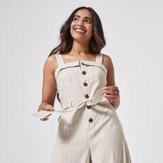 Dannii Minogue Petites Sleeveless Jumpsuit - Natural/White Stripe | Target Australia