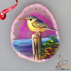 HAND PAINTED BIRD AGATE SLICE GEMSTONE NECKLACE PENDANT ZL80 19543 #ZL #PENDANT
