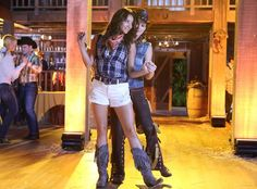 Shay Mitchell and Lindsey Shaw dance at the Pretty Little Liars hoedown