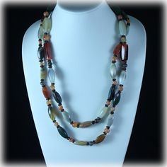 Stunning Polished Agate Stone Necklace by JunkboxTreasures on Etsy, $45.00