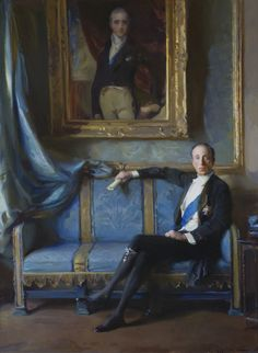 The 7th Marquess of Londonderry, with a portrait of Lord Castlereagh behind him, by Philip de Laszlo, 1924. ©National Trust Images/John Hammond